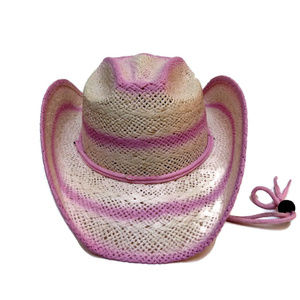 74a8175b Girl's Pink Straw Cowgirl Hat Alamo Hat Iron Weave